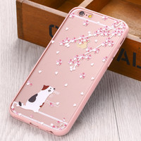 Lovely Cat /Cherry tree Pattern Hard Transparent Flowers Series back cover for iphone5 5S 6 6S