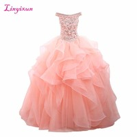 Linyixun Real Photo Sexy Crystal Ball Gown Quinceanera Dresses 2017 Beading Sweet 16 Dresses For 15 Years Vestidos De 15 Anos