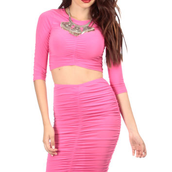 Fuchsia Ruched Crop Top