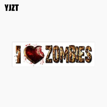 YJZT 16.5CM*5CM Funny I LOVE ZOMBIES Lnterest Reflective Car Sticker Motorcycle Accessories C1-7674