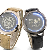 Black Butler LED Waterproof PU Leather Watch