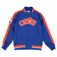 Mitchell & Ness Cleveland Cavaliers NBA Net Warm Up Jacket In Blue