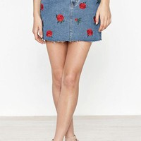 ONETOW PacSun Embroidered Rose Denim Skirt at PacSun.com