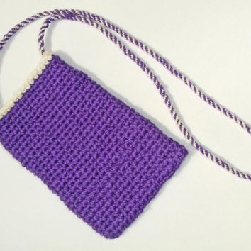 iPhone Pouch with Neck Strap, Purple Cream iPhone Sleeve, Crochet Cell Phone Case, Handspun Crochet Sleeve,  Neck Strap Purse, Wool Lanyard