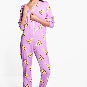 Charlotte Pizza Print Onesuit | Boohoo