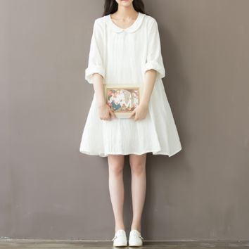 SMALL FRESH WHITE COTTON AND LINEN DRESS IN THE LONG SKIRT TIDE