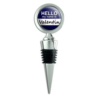 Valentin Hello My Name Is Wine Bottle Stopper