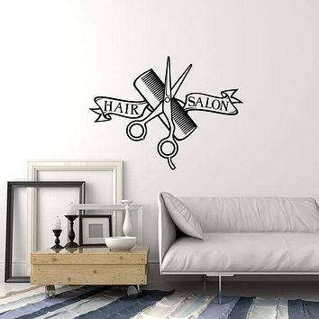 Vinyl Wall Decal Hair Salon Interior Scissors Comb Hairdressing Art Stickers Mural (ig5846)