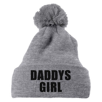 Daddys Girl Embroidered Knit Pom Cap