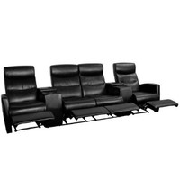 Flash Furniture 4-Seat Black Leather Home Theater Recliner with Storage Consoles