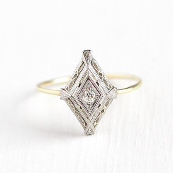 Diamond Filigree Ring - Antique Art Deco 14k White & Yellow Gold Stick Pin Conversion Ring - Size 7 1/4 Vintage 1920s Fine Jewelry