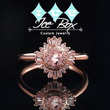 Morganite Engagement Ring 1.2ct, 7mm Round Morganite in a 14k Rose Gold Diamond Halo