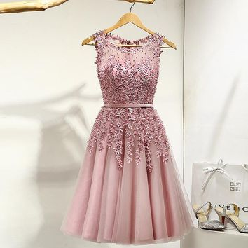 Lace Many Color Flowers Beading A-line Knee Length Dinner Bridesmaids Dresses Party Short Formal Dress