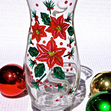 painted christmas vase with poinsettias holiday gift ideas - Christmas Vase Decorations