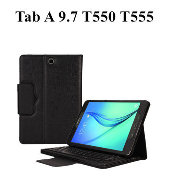 For Samsung GALAXY Tab A 9.7 T550 T555 Tablet Detachable Wireless Bluetooth Keyboard + Folio PU Leather Case Cover