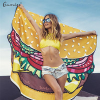 Gamiss Beach Cover Up Summer Pareo Donut Creative Shape Hamburger Beach Mat Swimwear Praia Cartoon Cloak Mats Bikini Cover