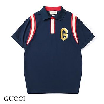 GUCCI Fashion New Embroidery Letter Women Men Top T-Shirt Blue