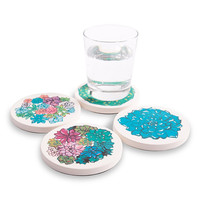 Multi-colored Succulent Plants Rendered onto Absorbent Ceramic Coasters