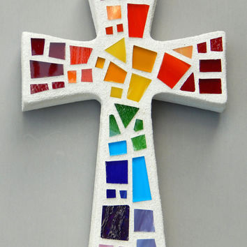 "Mosaic Wall Cross, Small, White with Rainbow Glass,  Handmade Stained Glass Mosaic Cross Wall Decor, 6"" x 4"""