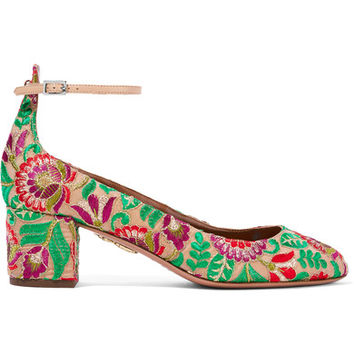 Aquazzura - Alix embroidered canvas pumps