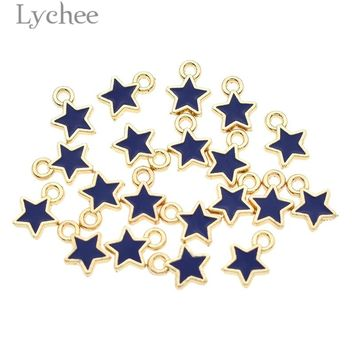 Lychee 20pcs Trendy Alloy Star Enamel Charms DIY Pendant Gold Color Small Charms Handmade Jewelry for Necklace Bracelet