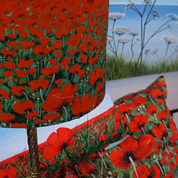 Poppies Fabric Drum Style Lampshade