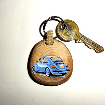 VW Beetle Keychain Blue Car Keyring. Key Ring Wood Slice. Beautiful Unique Key Chain Personalized Quote Name Wood Yellow Car Keychain Keyfob