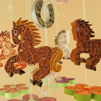 Baby Mobile – READY To SHIP - Dream Horses Mobile - Carousel Mobile - Ponny Mobile - Good Luck Horseshoe Mobile QuilIing Handmade 20A