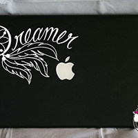 Dreamer Dream Catcher Word Quote and Feathers (WHITE) Vinyl Decal Stickers for MacBook Laptop Car Love Forever Birds Always Relationships Feathers Peace Tough Strength Strong Strength Hope Inspiration Dreamer Love Bird Flying Cursive Script