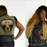 80s Vintage Studded Leather Motorcycle Punk Rock Jacket/ Last Chance Rolling Sober Motorcycle Club Leather Vest