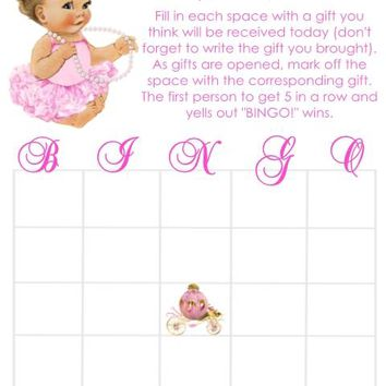 10 Princess Baby Shower Bingo Cards Light Skin