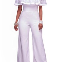 White Embroidery Ruffle Off Shoulder Party Jumpsuit