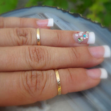 Knuckle Rings 14K Gold Filled Handcrafted Textured - Set Of Two