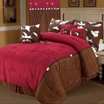 Rustic Western Red Cowhide Texas Star Luxury Comforter Suede - 7 Pieces Set
