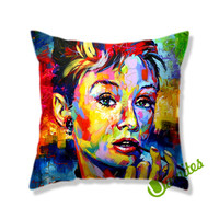 Audrey Hepburn Color Square Pillow Cover