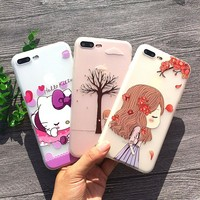 32 Styles Floral Animal 3D Relief Hello Kitty Case For iPhone X Phone Case Soft TPU Shell For iPhone 8 7 6s Plus 5S SE Cover