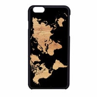 World Map On Wood Texture Print iPhone 6 Case
