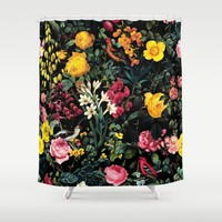 Floral and Birds Pattern Shower Curtain by Burcu Korkmazyurek
