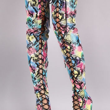 Rainbow Python Lace-Up Stiletto Over-The-Knee Boots