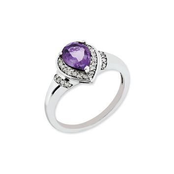 Pear Shaped Amethyst & 0.16 Ctw Diamond Sterling Silver Ring