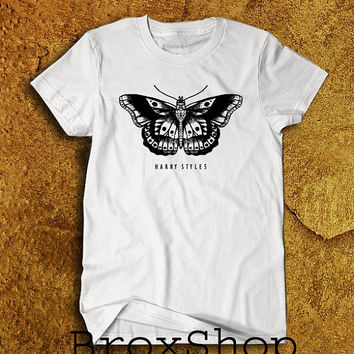 Harry Styles Butterfly Tatto 1D One Direction Printed Shirt Geek Hipster Shirt White Unisex Size Men Women Tee TShirt