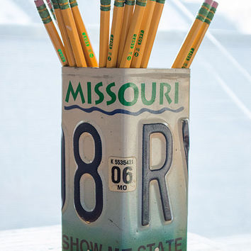 Missouri License Plate Pencil Holder - Pencil Cup - Unique Pencil Cup - Desk Accessories - Office Decor - Pen Cup - Pen Holder - State Decor