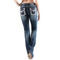 Grace in LA Jeans Bootcut Easy Fit with Faux Flap Embroidered Pockets EB61048