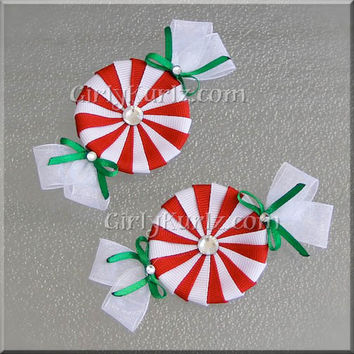 Red & White Peppermint Candy Hair Clips Christmas Hair Bow Christmas Hair Clip