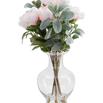 "20"" Faux Peony And Lambs Ear In Glass Vase"
