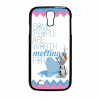 Olaf Quote Melting The Disney Frozen Pink Blue Chevron Samsung Galaxy S4 Case