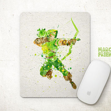 Arrow Mouse Pad, Superhero Watercolor Art, Mousepad, Home Deco, Gift, Art Print, Desk Art, Arrow Accessories