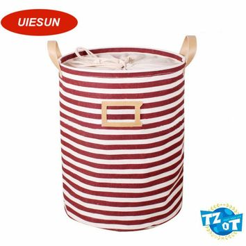 35x45cm Stripe Large Laundry Bag With Cover Cotton Washing Laundry Basket Dirty Clothing Bags Toy Storage Bag UIE640