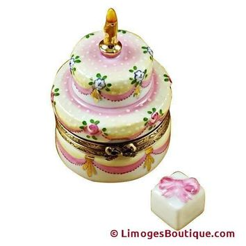TWO LAYER CAKE WITH REMOVABLE PORCELAIN Gift LIMOGES BOX