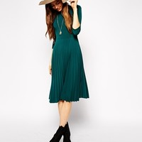 ASOS PETITE Pleated Skater Dress with High Neck and 3/4 Sleeves
